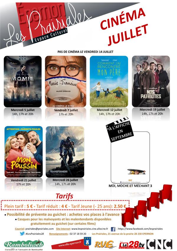 Le programme du cinéma d'Epernon du 1er au 31 juillet 2017