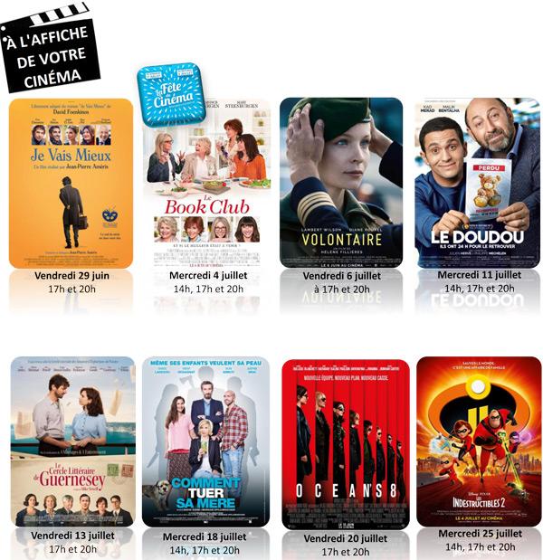 Le programme du cinéma d'Epernon, Les Prairiales, du 29 juin au 25 juillet 2018