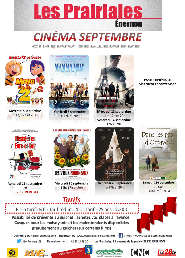 Le programme du cinéma d'Epernon, Les Prairiales, du 5 au 29 septembre 2018