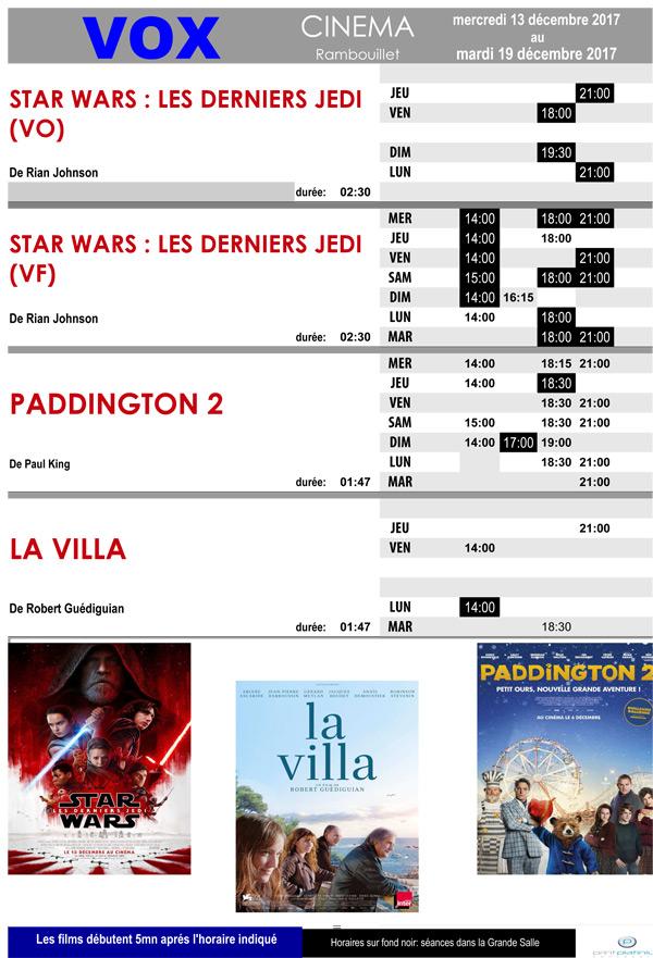 A l'affiche de votre cinéma Vox à Rambouillet du mercredi 13 au mardi 19 décembre 2017