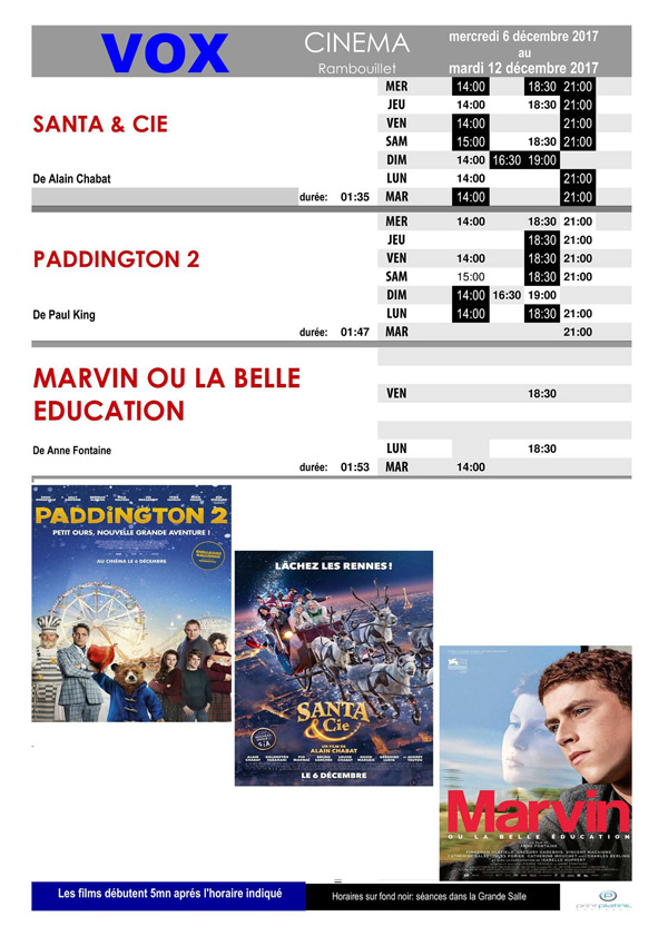 A l'affiche de votre cinéma Vox à Rambouillet du mercredi 6 au mardi 12 décembre 2017
