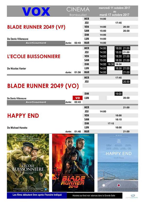 A l'affiche de votre cinéma Vox à Rambouillet du mercredi 11 au mardi 17 octobre 2017