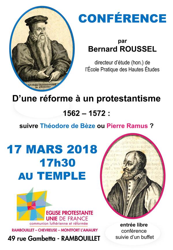 Conférence sur les débuts du protestantisme en France au temple de Rambouillet