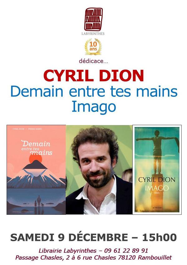 Cyril Dion sera en dédicace à la librairie Labyrinthes Rambouillet