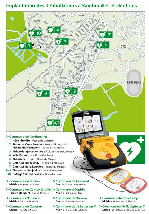 L'implantation des défibrillateurs à Rambouillet et alentours