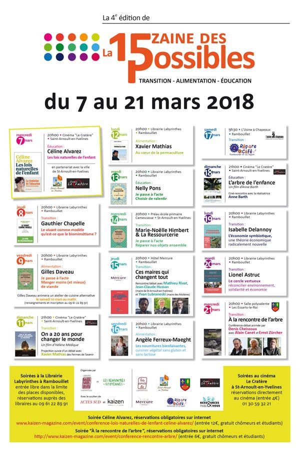 La 4ème édition de la Quinzaine des Possibles du 7 au 21 mars 2018