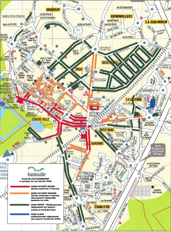 Consultez le nouveau plan de stationnement à Rambouillet en vigueur au 1er janvier 2018