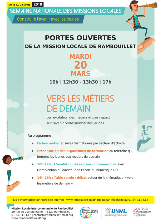 Portes ouvertes de la Mission Locale de Rambouillet le  mardi 20 mars 2018