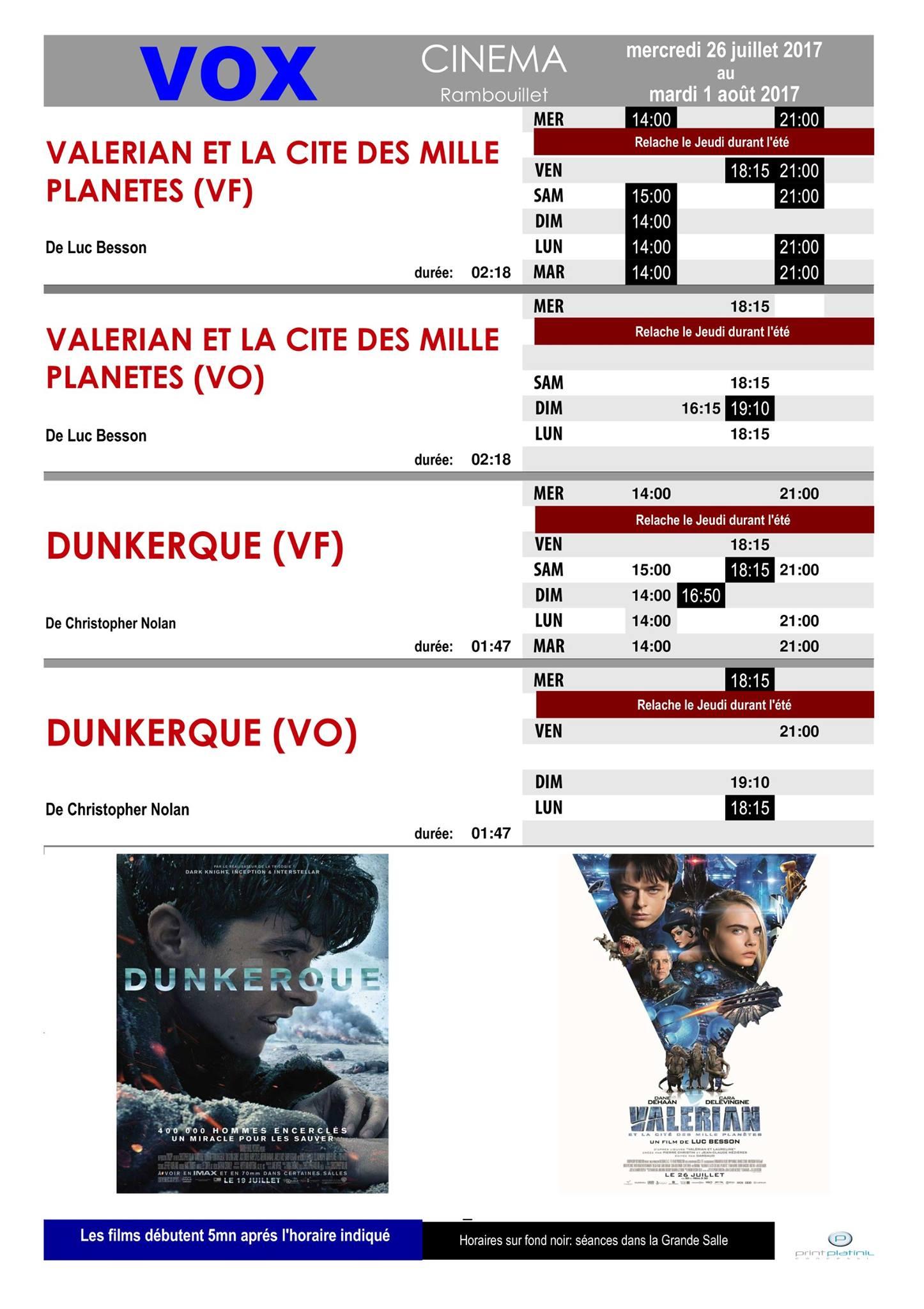 Le programme de votre cinéma Vox à Rambouillet du Mercredi 26 juillet au Mardi 1er août 2017