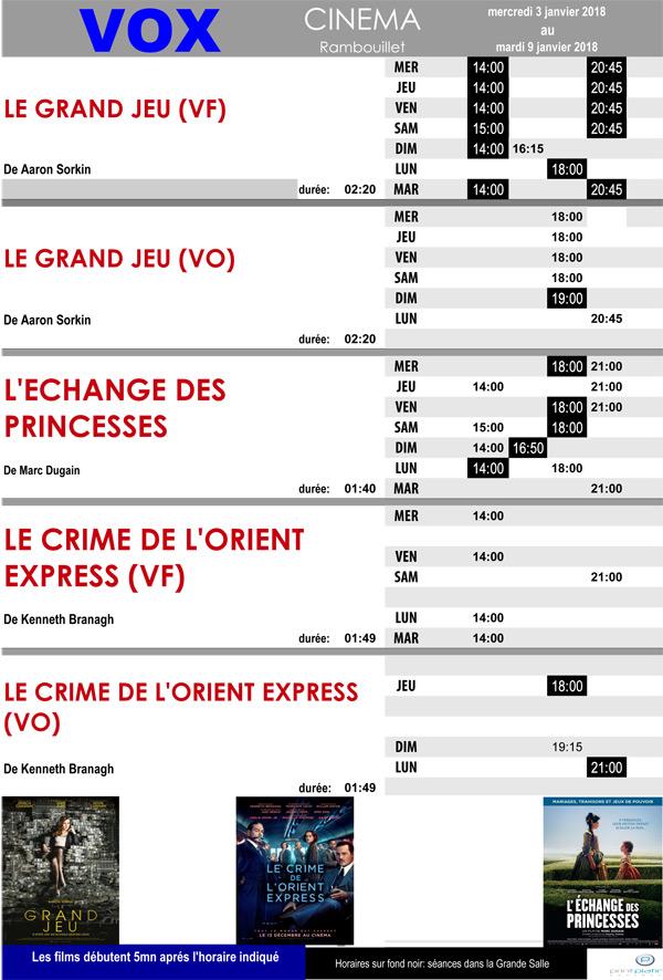 A l'affiche de votre cinéma Vox à Rambouillet du mercredi 3 au mardi 9 janvier 2018