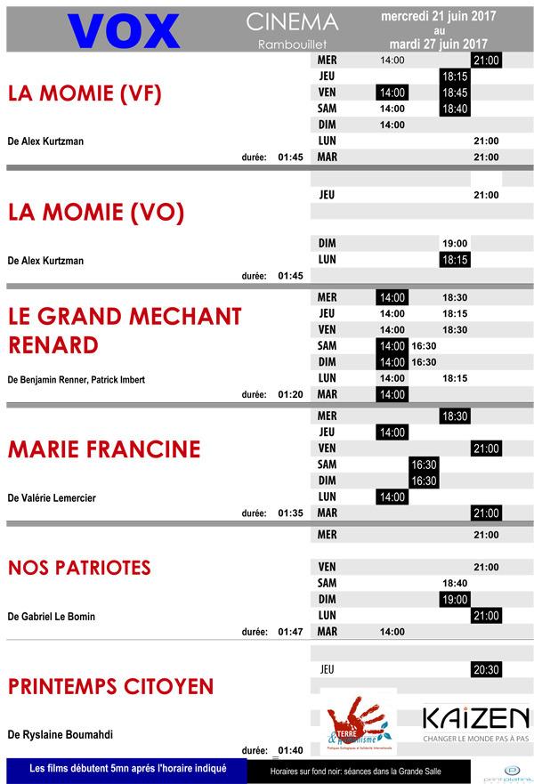 Le programme du cinéma Vox à Rambouillet du mercredi 21 au mardi 27 juin 2017