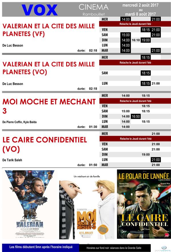Le cinéma Vox à Rambouillet vous propose du mercredi 2 au mardi 8 août 2017