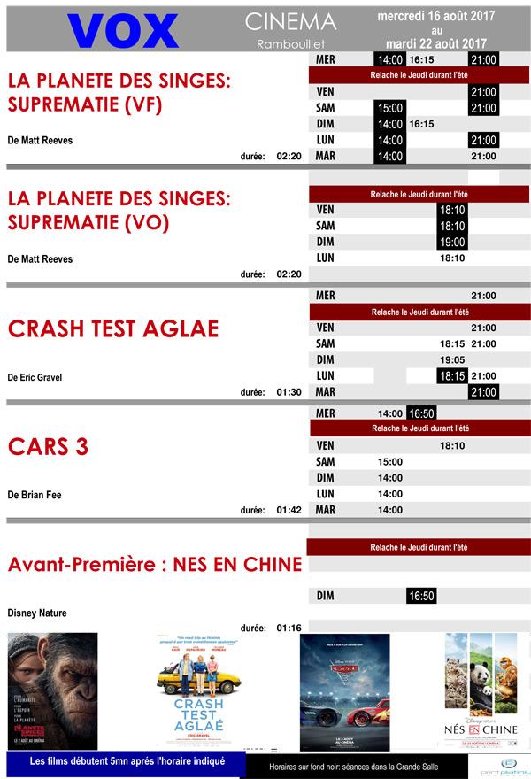 A l'affiche de votre cinéma Vox à Rambouillet du mercredi 16 au mardi 22 août 2017