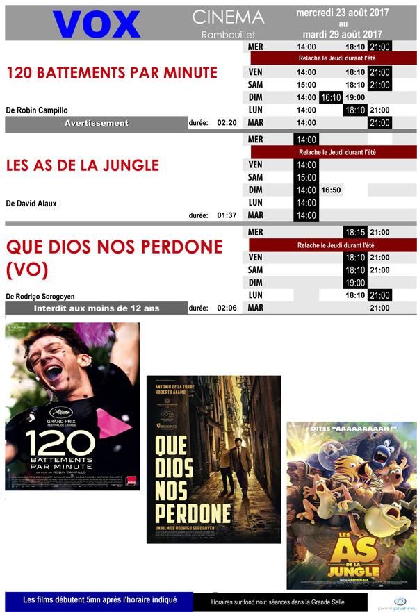 Votre cinéma Vox à Rambouillet vous propose du 23 au 29 août 2017