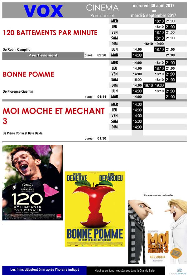 A l'affiche de votre cinéma Vox à Rambouillet du mercredi 30 août au mardi 5 septembre 2017