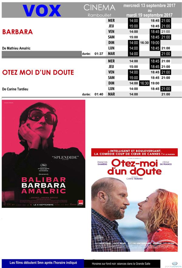 A l'affiche de votre cinéma Vox à Rambouillet du mercredi 13 au mardi 19 septembre 2017