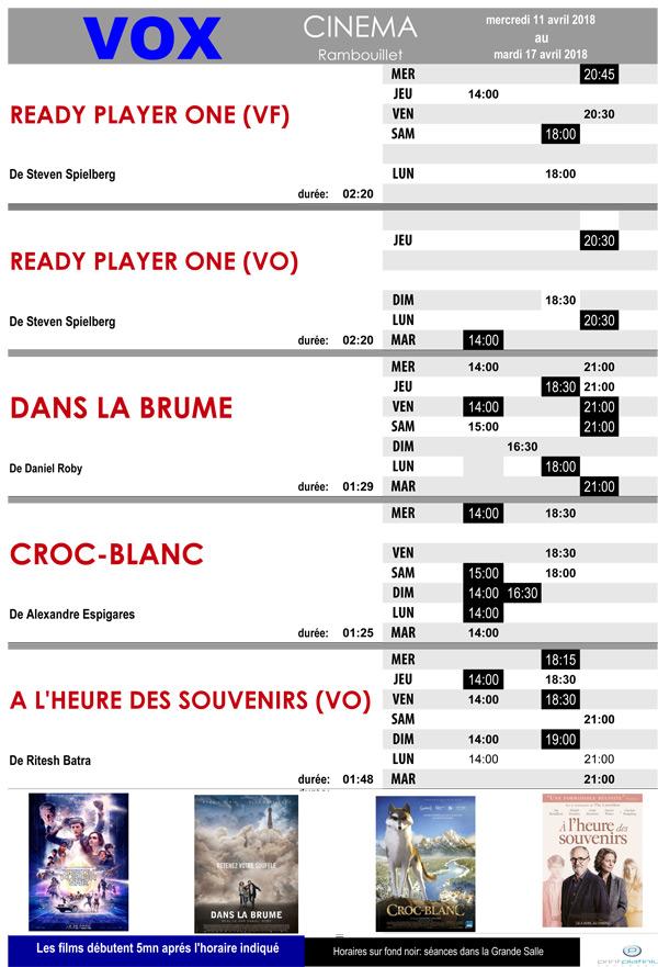 A l'affiche de votre cinéma Vox à Rambouillet, du mercredi 11 au mardi 17 avril 2018