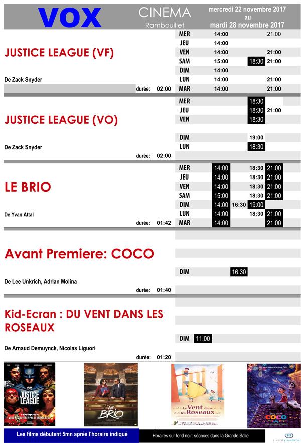 A l'affiche de votre cinéma Vox à Rambouillet du mercredi 22 au mardi 28 novembre 2017
