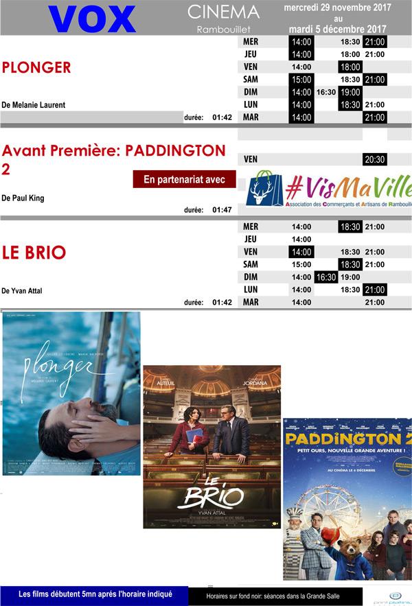 A l'affiche de votre cinéma Vox à Rambouillet du mercredi 29 novembre au mardi 5 décembre 2017