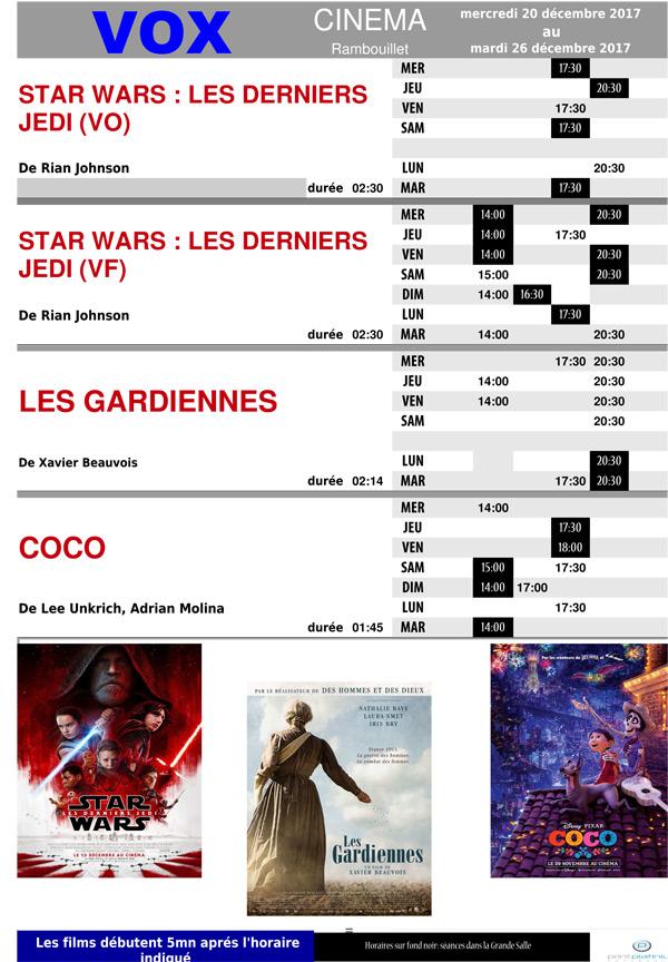 A l'affiche de votre cinéma Vox à Rambouillet du mercredi 20 au mardi 26 décembre 2017