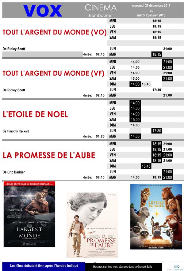 A l'affiche de votre cinéma Vox à Rambouillet du mercredi 27 décembre 2017 au mardi 2 janvier 2018