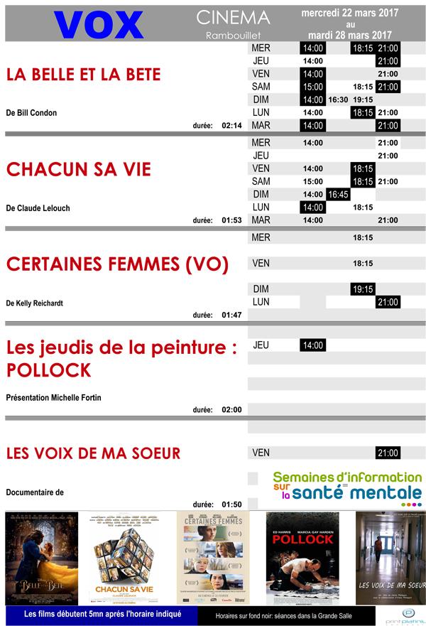 Au cinéma Vox à Rambouillet du 22 au 28 mars 2017