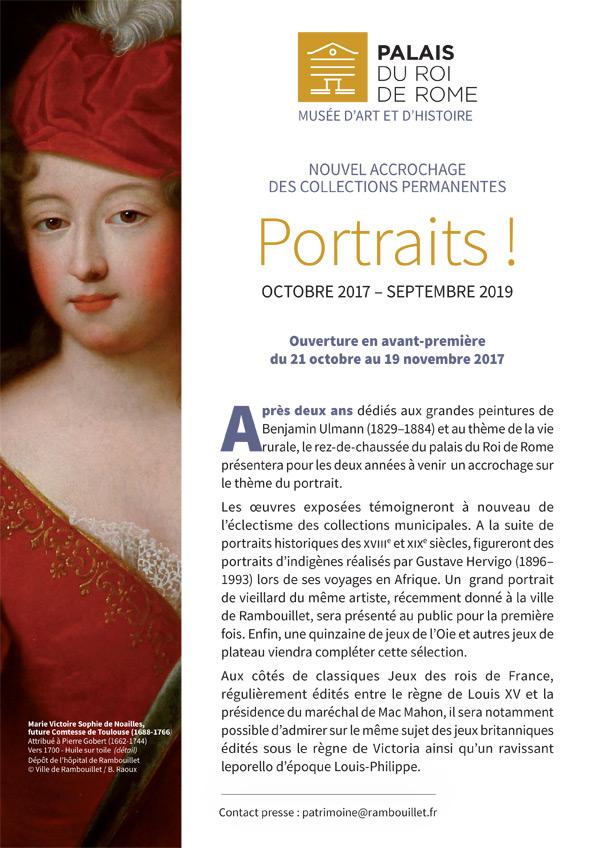 Nouvel accrochage des collections permanentes au Palais du Roi de Rome à Rambouillet : Portraits !