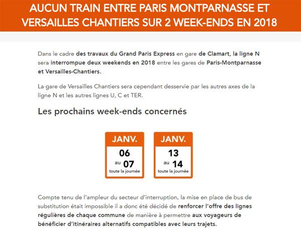 Info SNCF : interruption des circulations entre Paris et Versailles Chantiers