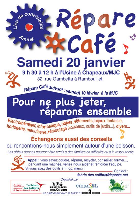 Le Répare Café sera à l'Usine à Chapeaux MJC, le samedi 20 janvier 2018