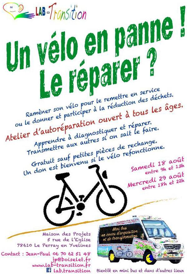 Un vélo en panne! Le réparer? C'est possible avec Lab-Transition au Perray-en-Yvelines en août
