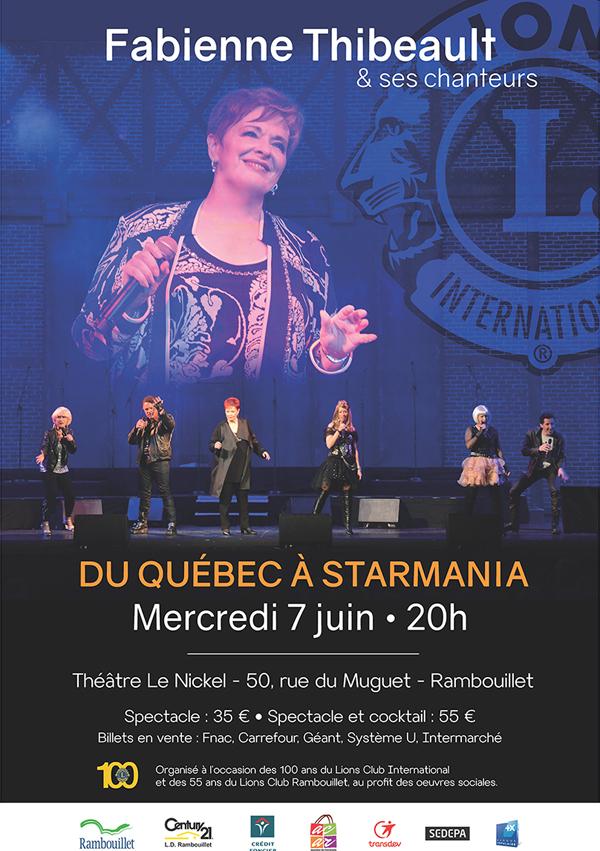 Fabienne Thibeault et ses chanteurs seront en concert à Rambouillet pour le spectacle du Québec à Starmania