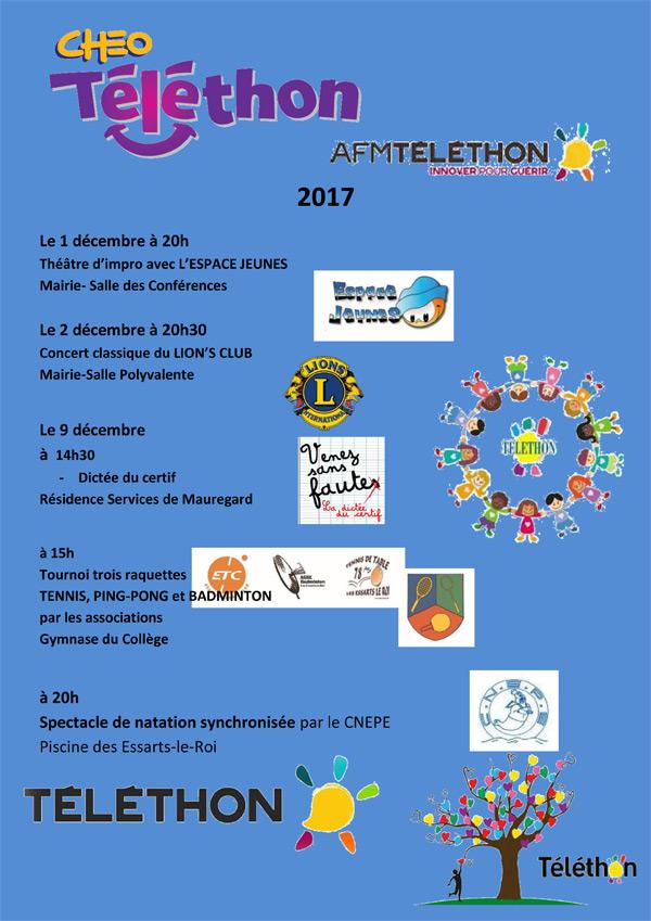 Le Téléthon des Essarts-le-Roi les 1er, 2 et 9 décembre 2017