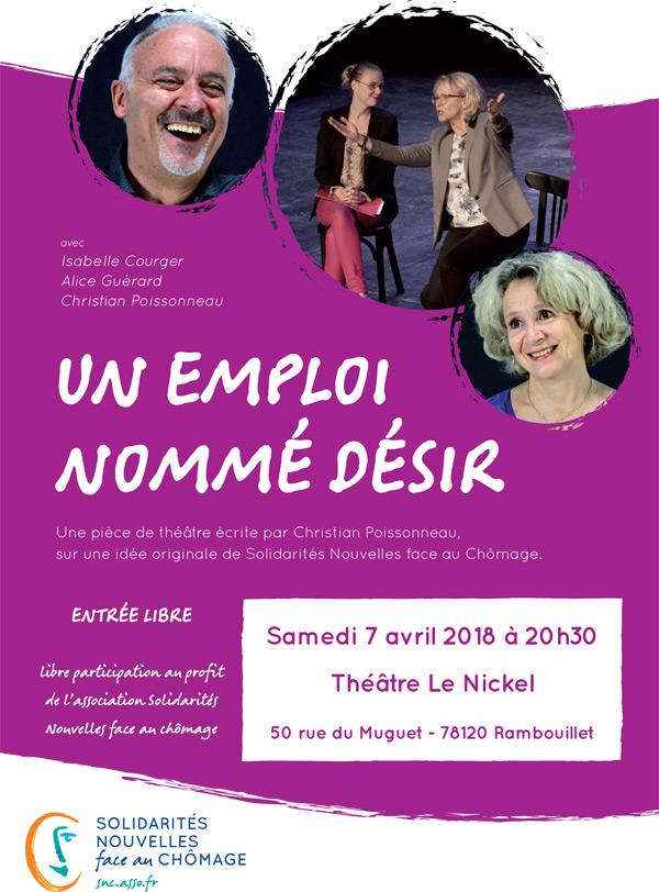 Théâtre au Nickel à Rambouillet : Un emploi nommé désir, le samedi 7 avril 2018