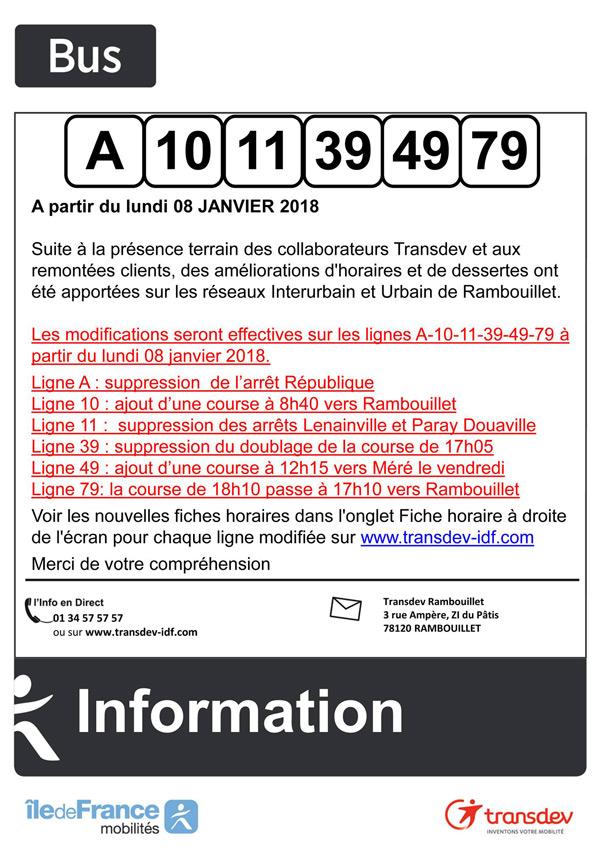 Infos Bus Rambouillet : lignes A, 10, 11, 39, 49, 79