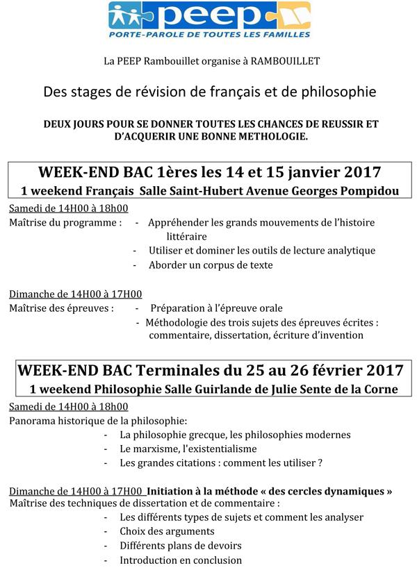 Stages de révision de français et de philosophie à Rambouillet